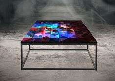 Blck metal frame with geometric pattern etched into the surface of the wooden top. Bespoke Furniture, Furniture Design, Wooden Tops, Coffee Tables, Surface, Metal, Frame, Pattern, Room