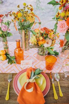 Geometric patterns and colorful wedding ideas are a perfect match. Incorporate patterned runners into your reception centerpieces to instantly zest up the tablescapes! Summer Wedding Colors, Orange Wedding, Spring Wedding, Wedding Centerpieces, Wedding Decorations, Table Decorations, Centrepieces, Orange Table, Table Setting Inspiration
