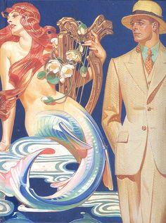 Wagner 's Das Rheingold (Mermaid illustration by Joseph Christian Leyendecker Retro Poster, Vintage Posters, Vintage Art, Mermaid Images, Mermaid Art, Mermaid Paintings, Mermaid Poster, Mermaid Illustration, Art And Illustration