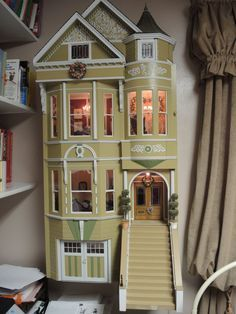 This Queen Anne Victorian Double Bay San Franciscan Row House Dollhouse is a collectible gem! The house is wired 12 volt. It was created by a local Wisconsin woodworking artist. He modeled the dollhouse from a picture of a real house standing in the historical district of the city of San Francisco. The original houses in this district are today sometimes referred to as Painted Ladies. Indeed it is pictured in the book called Painted Ladies. The dollhouse is made of wood and has interior…