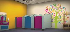 Adding bright colours for a Nursery toilet cubicle will help children to want to use the toilets.