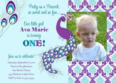 Pretty Peacock Birthday Party Invitation on Etsy, $17.00