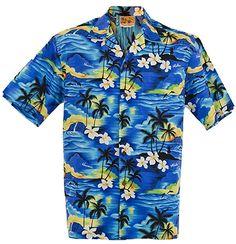 c07d2f45d726 (SUNSET ALLOVER) WinnieFashion Hawaiian (100% cotton) Aloha Shirt in BLUE  (M)