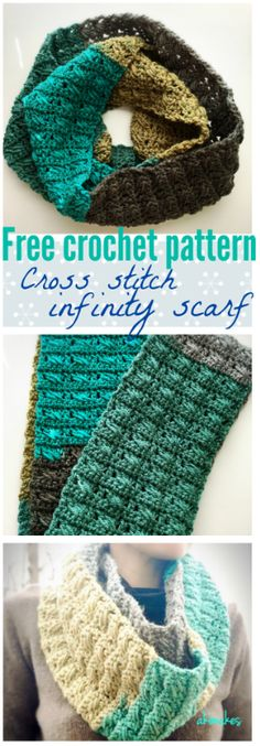Free crochet pattern, cross stitch infinity scarf with Caron Cakes! It's a easy and quick project. Knit Or Crochet, Crochet Scarves, Crochet Shawl, Crochet Crafts, Crochet Clothes, Crochet Stitches, Crochet Hooks, Crochet Projects, Free Crochet