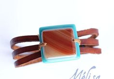 Brown leather bracelet and fused glass / women by MelisaCreation