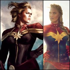 Since the reddit AMA I've received so many badass Ms. Marvel/Captain Marvel edits! There were so many cool ones I couldn't pick just one to share -  here's 2 series of 2 Big thank you to contributing artists: @alexmurilloart (right) and whoever did the art on the left (sorry I can't find the original)