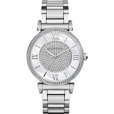 Michael Kors Women's MK3355 'Catlin' Crystal Stainless Steel Watch ($223) ❤ liked on Polyvore featuring jewelry, watches, accessories, bracelets, mother of pearl, crystal bezel watches, leather-strap watches, stainless steel watches, white strap watches and water resistant watches