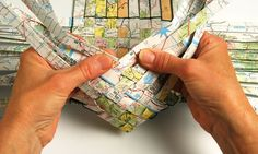paper weaving basket from maps or newspaper pages like comics or want ads   Good site.