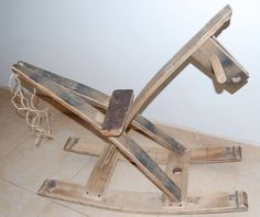 My son´s rocking horse.  From barrel staves and a piece of rope ;-)