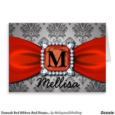 Damask Red Ribbon And Diamond Monogram And Name Greeting Card