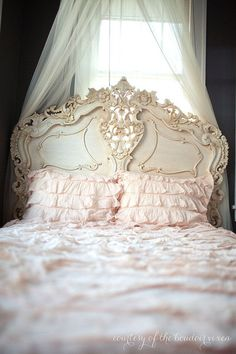Fabulous & Rococo Bed features exaggerated carvings from the legs to the headboard in Soft Pink