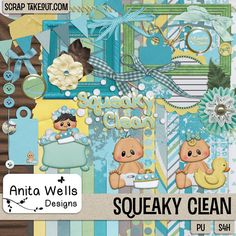 An adorable kit to scrap bath time memories! A coordinating mini kit is also available. You can find the kit and add on at Scrap Take Out: http://scraptakeout.com/shoppe/Squeaky-Clean.html; http://scraptakeout.com/shoppe/Squeaky-Clean-Mini-Add-On.html