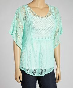 Mint Sheer Lace Cape-Sleeve Top - Plus #zulily #zulilyfinds