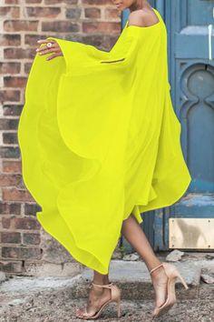 Chiffon Off-The-Shoulder Sleeve Casual Dress Maxi Dress Vacation Dress Shoulder Sleeve, Shoulder Dress, Chiffon Material, Perfect Prom Dress, Two Piece Outfit, Yellow Dress, Yellow Maxi, Asymmetrical Dress, Ladies Dress Design