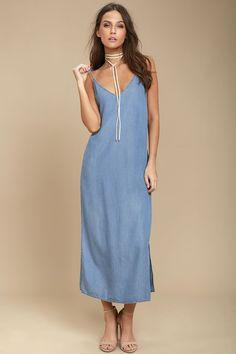 Cute Blue Dress - Chambray Dress - Midi Dress - Sheath Dress Lulus