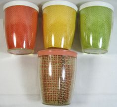4 Vintage Burlap Straw Weave Raffia Ware Melmac Small Drinking GlassesTiKi