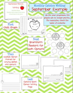 Opinion Writing for Common Core and Freebie - First Grade Blue Skies
