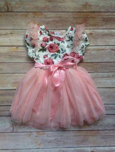 Ivory Pink Floral Toddler Girls Tutu Dress by AvaMadisonBoutique