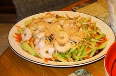 Chinese Noodle And Shrimp Party Platter Old Fat, Party Platters, Noodles, Shrimp, Seafood, Appetizers, Cooking Recipes, Chinese, Pasta