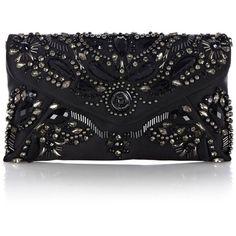Karen Millen Baroque Jewel Clutch ($125) ❤ liked on Polyvore featuring bags, handbags, clutches, purses, bolsas, black, mini pochette, karen millen handbags, jeweled purse and miniature purse