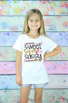 044110e4a92 Seven Birthday Shirt - 7th Birthday Girl - Seven Birthday Gift - 7 Year Old  - Seven Birthday Outfit - Glitter Birthday T-Shirt