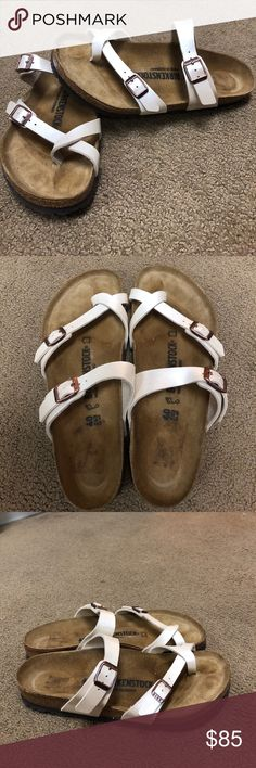 Birkenstock Sandals Very Gently used cream w light shine. Birkenstock Shoes Sandals