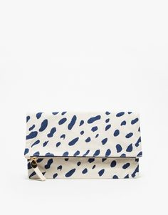 Can't get enough of this Clare Vivier natural canvas jaguar fold-over clutch! Click to buy on ShopStyle.