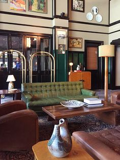 vintage leather furniture at ace hotel new orleans / sfgirlbybay