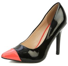 Spice up your usual office wear with these black pointed pumps with coral cap toes .