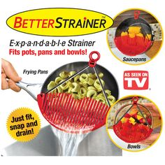 Cute gadget... Better Strainer - Expandable for Pots, Pans and Bowls
