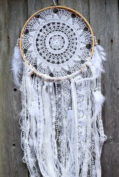 Large Dream Catcher  White Dreamcatcher  Doily by VagaBoundPeople