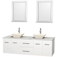 Wyndham Collection Centra 72 inch Double Bathroom Vanity in Matte White, White Carrera Marble Countertop, Pyra White Porcelain Sinks, and 24 inch Mirrors