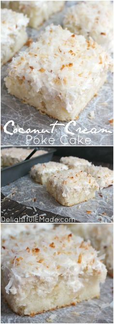 Coconut Cream Poke Cake ~ A dreamy, delicious coconut cake. Creme of coconut is baked into a fluffy white cake making it super moist - The cake is then topped with coconut whipped cream and toasted coconut for the ultimate coconut treat! 13 Desserts, Coconut Desserts, Coconut Recipes, Baking Recipes, Delicious Desserts, Baking Desserts, Coconut Whipped Cream, Toasted Coconut, Coconut Creme Pie Recipe