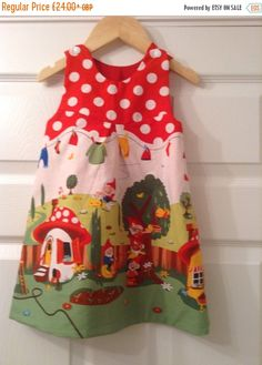 New Year Sale Gnome & Toadstool Dress, Gnomeville dress, Toadstool dress, Michael Miller pinafore dress by Islaboohandmade on Etsy