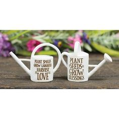 Set of 2 Decorative Resin Watering Cans Creative Connections, Watering Cans, Tin Signs, 2 Set, Country Of Origin, Sale Items, Initials, Resin, Canning