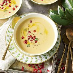 Roasted Cauliflower-and-Garlic Soup - The Ultimate Southern Thanksgiving - Southern Living
