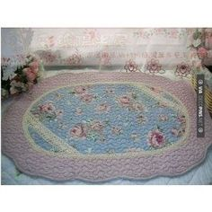 Shabby and vintage style Angel Blue with lace oval rug from Shabby Chic Dining Room, Shabby Chic Desk, Shabby Chic Fabric, Shabby Chic Curtains, Shabby Chic Baby Shower, Shabby Chic Style, Shabby Chic Furniture, Painted Furniture, Vintage Style
