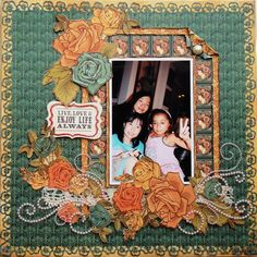 """I like the frame around the photo.  Can be done with almost any of the Graphic lines that have the """"stamp"""" border.  *ZVA Creative* Enjoy Life - Scrapbook.com Graphic 45 - Steampunk Debutante Collection"""