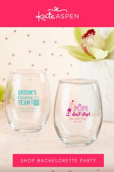 What's on the agenda for your bachelor and bachelorette party? This celebratory occasion calls for toasts and fun with your friends and family! | Personalized 15 oz. Stemless Wine Glass - Bachelor & Bachelorette | Kate Aspen Bachelorette Wine Glasses, Bachelorette Parties, Bridal Shower Favors, Wedding Favors, Kate Aspen, Stemless Wine Glasses, Baby Shop, Friends, Party