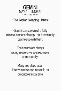 Gemini Sleeping Habits