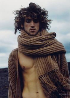 Men's chunky scarf and matching cardigan