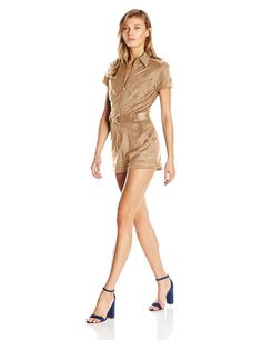 Guess Women's Short Sleeve Anja Belted Faux Suede Romper * This is an Amazon Affiliate link. Read more at the image link.