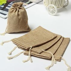 1/3/5/10Pcs Faux Burlap Hessian Mini Bags Rustic Wedding Christmas Gift Bags #Unbranded