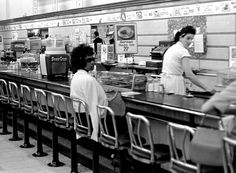 Black college student Dorothy Bell, 19, of Birmingham, Alabama, waits at a downtown Birmingham lunch counter for service that never came, April 4, 1963. She was later arrested with 20 others in sit-in attempts.