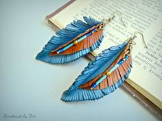 Hey, I found this really awesome Etsy listing at https://www.etsy.com/listing/245029544/long-leather-earrings-leaf-earrings-blue
