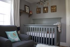 Project Nursery - Vintage Gray Crib in this Woodland Nursery