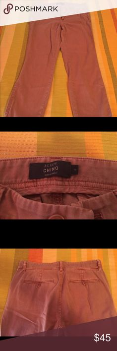 "J.Crew Chino Pants Worn only once. Great chinos! It's a pretty desert clay color. Sits at hip. Easy through hip and thigh with a straight leg. 29"" inseam, looks amazing rolled up to 26 1/2"". J. Crew Pants"