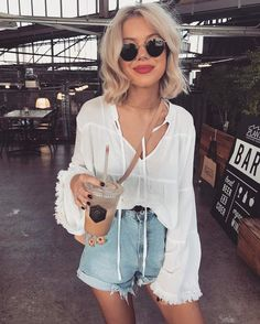 bell-sleeve blouse & jean shorts