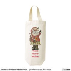 #Santa and Warm Winter Wishes Wine Tote Zazzle HEART Wine Bag @whitewaves1
