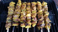 South African Sosaties (Malay Kebabs) | Genius Kitchen Skewers, Kebabs, Pork Strips, Kebab Recipes, Braai Recipes, Dry Red Wine, Lean Legs, South African Recipes, Kitchens